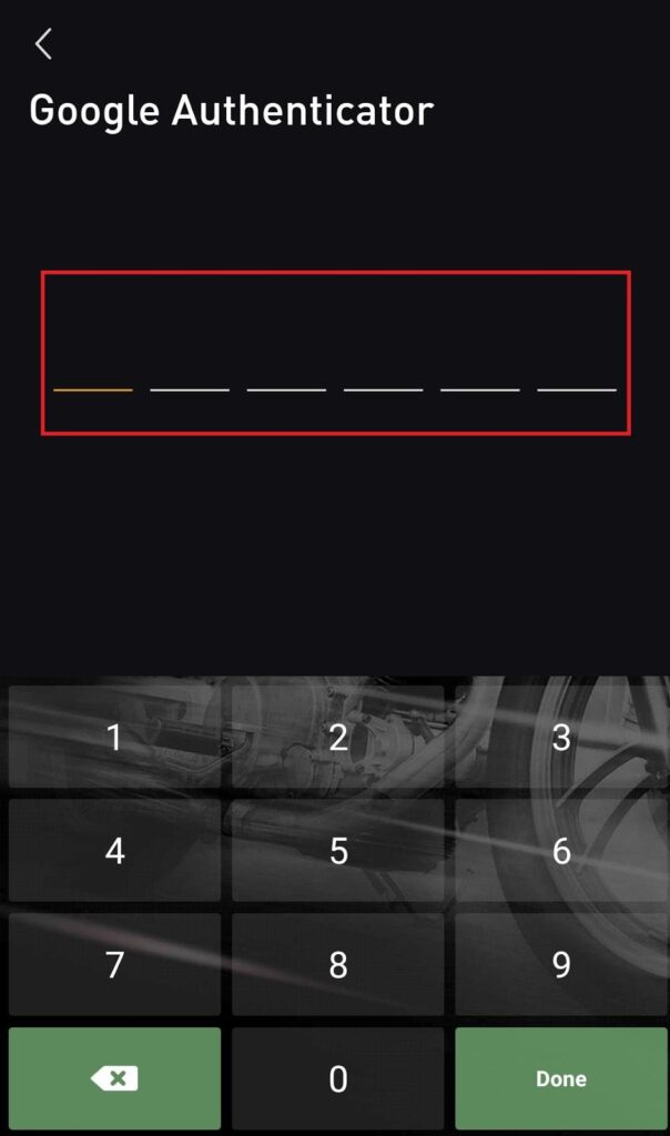 key in code from google authenticator