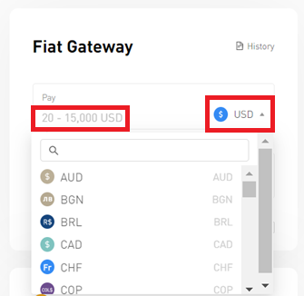Fiat Gateway select currency
