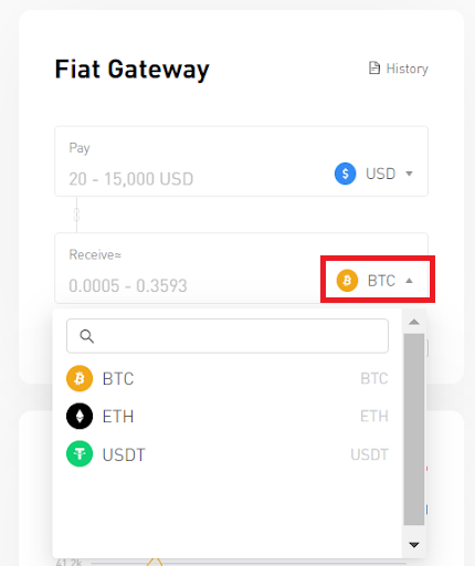 Select the crypto that you want to exchange
