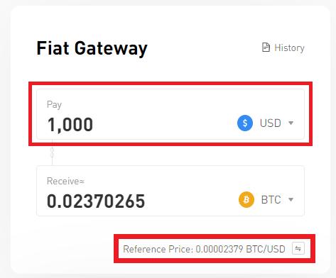 Exchange the desired amount based on USD