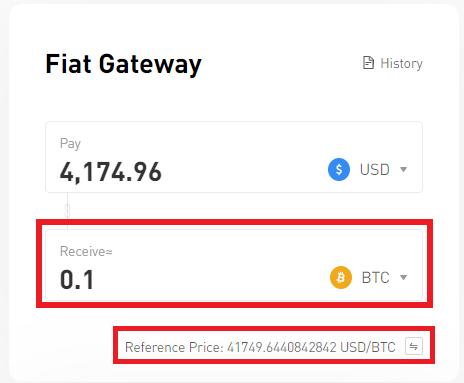 Exchange the desired amount based on BTC