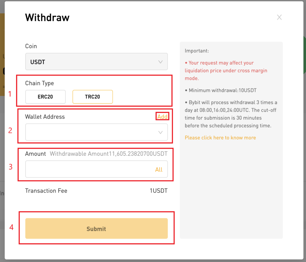 Bybit USDT withdrawal example