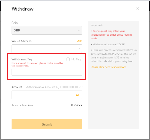 Withdrawing XRP or EOS on Bybit Web