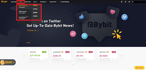Bybit Trading menu