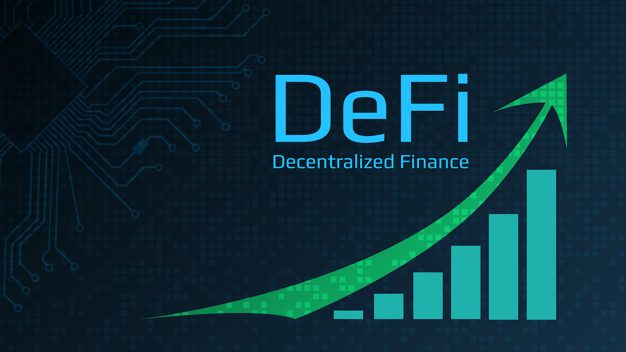 Defi - decentralized finance - text next to a green up arrow and a chart vector art.