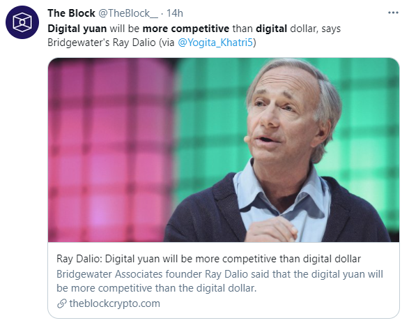 Ray Dalio is positive about Digital Yuan